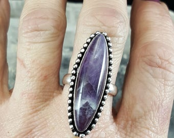 Marquise Shaped Chevron Amethyst Statement Ring - Size 7