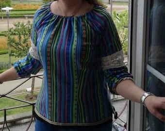 Blouse Tunic tops, Women, Clothing, Cotton Tunic tops, Blouses, Handmade Tunic tops, Blouse with lace, Custom blouse, Ethnic style