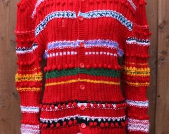 Red Striped Pom Pom Cardigan