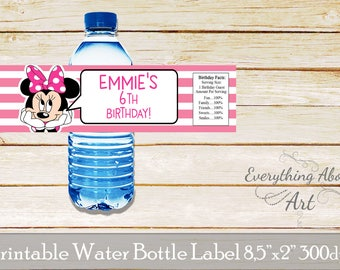 Minnie water bottle label, Minnie birthday party, Minnie birthday, Minnie bottle wraps, Minnie labels, Minnie theme, Printable bottle labels