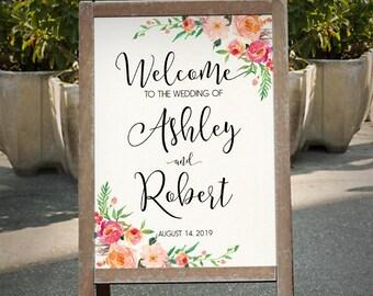 Printable Wedding Sign, Welcome Wedding Sign, Floral Wedding Sign, Customized Sign, Boho Bohemian Wedding Sign, Custom sign - GBF-31