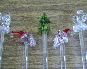 Christmas glass stirrers, vintage Christmas stirrers, Christmas glass swizzle sticks, glass ornamental christmas drink stirrers, barware
