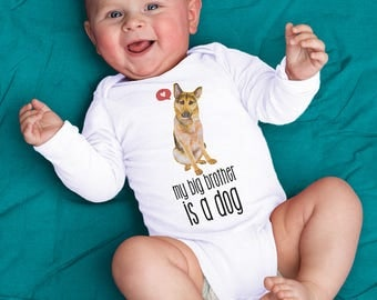 "Animal Pet Sibling ""My Big Brother is a Dog"" German Shepherd GSD Dog Baby Bodysuit - White Short or Long Sleeved Bodysuit"