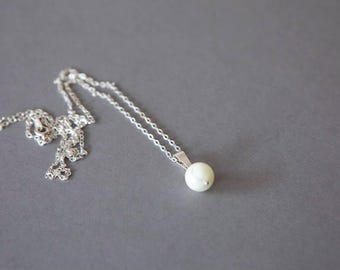 Mid-long necklace in silver and Pearl pendant