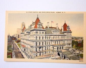 State Capital, State office Bldg. Albany New York Postcard 1956 / Linen Postcard Metrocraft Evereytt Postcard
