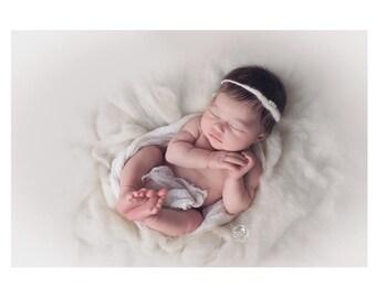 Newborn girl photo props / newborn tie back / newborn headband / felted photo props / pearl tie back headband / baby girl photo props pearl