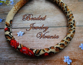 Gift for her Bead necklace Red flower necklace Rose necklace Red roses Bead crochet necklace Leopard necklace Beige necklace Beaded jewelry
