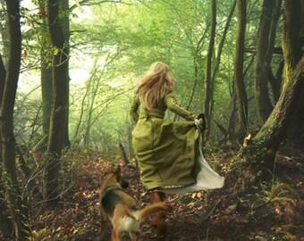 8 X 10 PRINT GORGEOUS PHOTOGRAPHY Girl running through the woods German Shepard