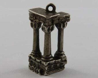 Roman Forum Ruins Columns Silver Vintage Charm For Bracelet