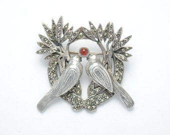 Broche argent - broche vintage - broche ambre - broche amour - broche oiseaux
