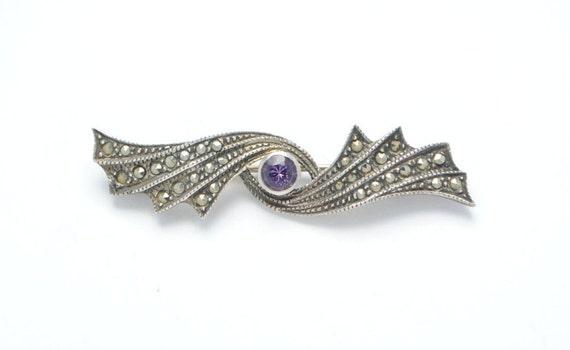 Vintage brooch - Amethyst brooch - Sterling silver brooch - Marcasite brooch - Woman brooch - Christams gift