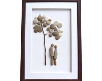 Pebble art, Romantic gift for couple, Unique engagement, wedding, new family, bridal shower gift,  Framed wall art home décor, 3D artwork