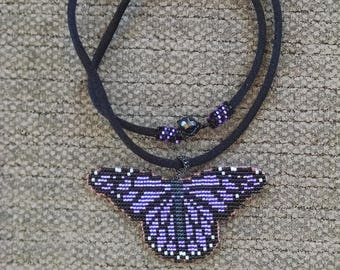 Beaded Monarch Butterfly Necklace Pendant, Lavender Purple Butterfly Wings Jewelry, Off Loom Style Pendant, Nature Jewelry
