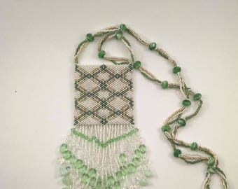 Geometric White, Green, and Gold Beaded Peyote Pouch Necklace, Native American Style Medicine Bag