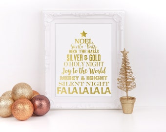 "Christmas Subway Art Real Gold Foil Print, 8""x10"", Christmas Home Decor Sign, Holiday Decorations, Christmas Party, Real Foil Print to Ship"