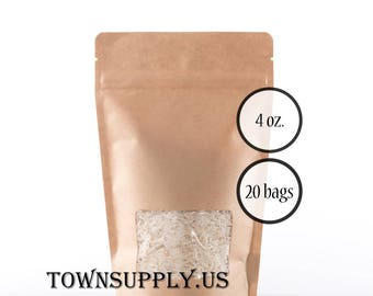 20 - 4 oz natural Kraft paper stand up pouches, clear window, food grade bags, product packaging, resealable zipper, recloseable party favor
