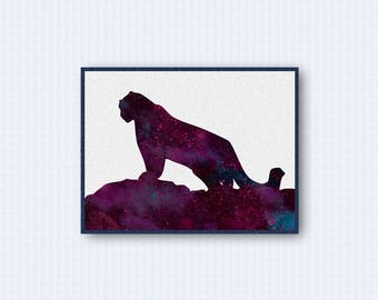 Snow Leopard Watercolor Poster