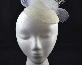 White bridal fascinator
