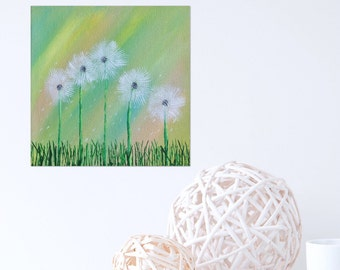 Dandelion Wall Art - Dandelion Painting - Ships Free Nature Painting- Art Nature - Dandelion Art - Green Painting - 8 x 8 Original Painting