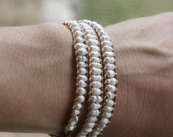 Classic Pearl and Cotton Beaded Wrap Bracelet