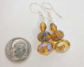 Honey Amber Faceted Glass Beaded Dangle Earrings