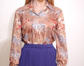 70's abstract print button-down blouse S/M