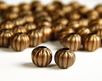 40 Pcs - 6mm Copper Spacer Beads - Pumpkin Beads - Metal Spacer Beads - Jewelry Supplies