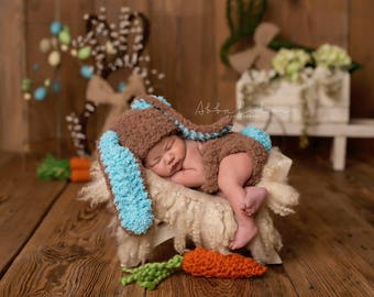 Baby Boy Bunny Hat, Newborn Photo Prop Set, crochet baby Easter Rabbit Hat & Diaper Cover  -  crochet baby shower gift- Spring girl  outfit