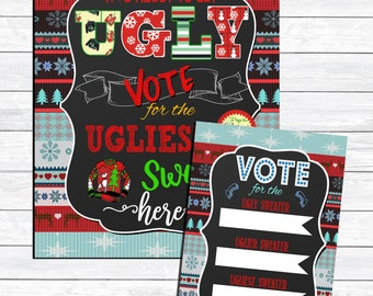 Ugly sweater party voting sign, vote for the ugliest sweater sign, ugly sweater voting ballot, prize for ugliest sweater, ugly sweater vote