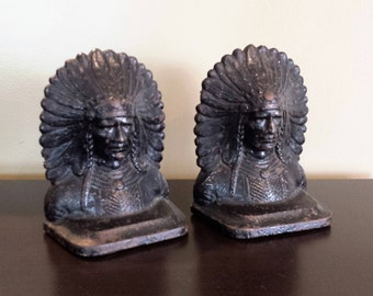 Antique Set of 2 Cast Iron Bookends or Doorstops Native American Indian Bust with Original Finish!