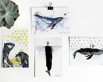 Postcard Halfbird | Illustration Whale Bear Elephant