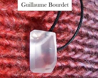Handfaceted ROSE QUARTZ pendant