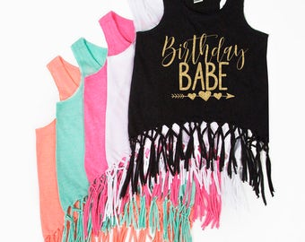 Birthday Babe - Fringe Tank Top - Birthday Tank Top - Birthday Girl - Glitter Birthday - Youth Girls' Tanks Tops - Birthday Outfit