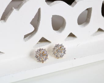 Beautiful Floral Stud Earrings, CZ,  Silver Tone Studs, Simple, rhodium Plated