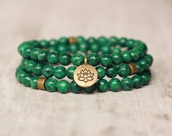 green bracelet lotus flower charm bracelet unisex jewelry yoga bracelet summer healing bracelet gift stack bracelet stackable bead bracelet