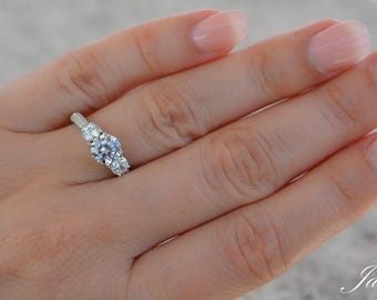 Sterling Silver Unique Design High Quality Cz Engagement Ring. High Shine Three Stones Engagement Ring. Wedding Ring. Silver Promise Ring.