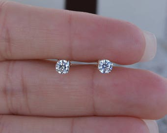 3MM Round Cz Stud Earrings. High Quality Cz Stud Earrings. Post Earrings. Small Studs. Sterling Silver Nickel Free Stud Earrings.