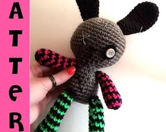 Goth Bunny - Crochet Pattern Amigurumi - Punk Plush Doll - Digital Download PDF