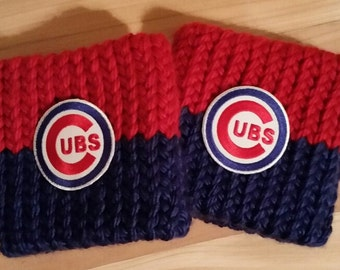 Chicago Cubs Boot cuffs, hand knit with embroidered patch, Free Ship US, Fan Gear, Baseball lover, gift for her, team spirit, game day