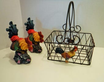 Metal Rooster Basket, Rooster Basket, Rooster Metal Basket, Farmhouse Rooster Decor, Country Home Basket Decor, Metal Basket, Rooster Decor