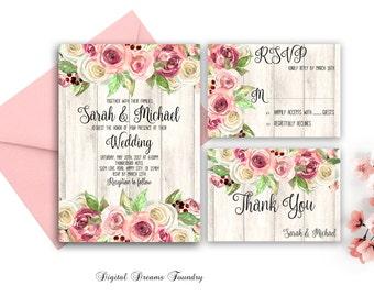 Rustic Floral Wedding Invitation Printable Boho Wedding Invitation Blush Pink Wedding Invitation Romantic Spring Wedding Country Wedding