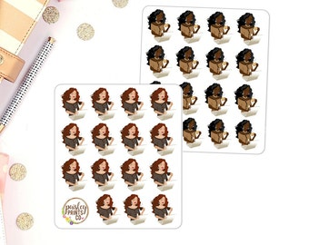 Girl Boss Laptop Coffee Girl Planner Stickers African American Planner Stickers Girl Boss