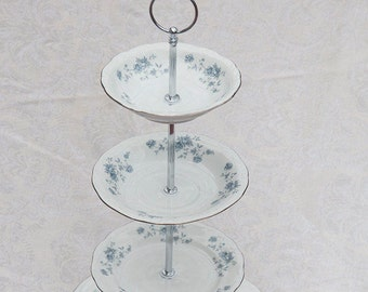 Stunning 4 Tier Stand with Johann Haviland Blue Garland china, cake stand, cupcake stand