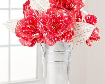 Paper Flowers BOUQUET Red Bird Roses: Handmade, Custom, FAST SHIP!! Paper Anniversary, Engagement, Birthday, Grad 2017 Send Paper Blooms