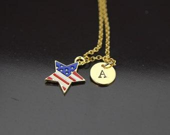 Gold Flag Necklace Patriotic American Flag Star Necklace American Flag Pendant Necklace Patriotic American Flag Necklace, Patriotic Jewelry