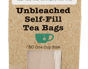 50 UNBLEACHED Self Fill Empty Teabags, One Cup Size, drawstring FREE Post UK & Europe, Ideal For All Loose Leaf, Fruit, Herbal, Green Teas