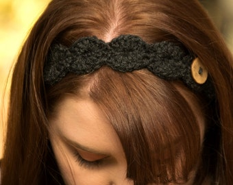 Black Headband, Crochet Flower Hair Band, Removable Flower Soft Tiara with Button, Girl's Spring Hair Tie