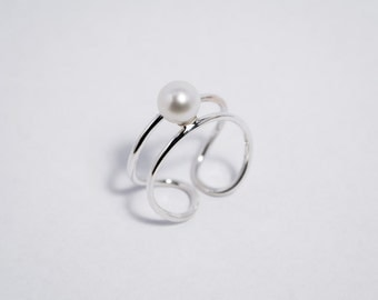 Double Loop with Pearl Ring - Silver 925 Ring - Classic and Elegant Design