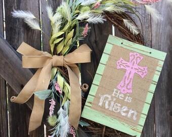 Religious Easter wreath, cross easter wreath, easter front door wreath, spring front door wreath, he is risen wreath, religious wreath