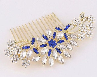Rhinestone Bridal Hair Comb Navy Blue Crystal Wedding Hair Comb Gold Bridal Headpiece Bridesmaid Hair Decoratie Comb Accessories